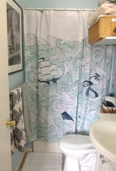 Whales, ships, tentacles, and mermaids! My new shower curtain rules