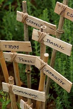 IT YOURSELF: Label Wooden plant markers coppice wood labels handcrafted personalised by WoodcottageCraft Voilà comment protégez simplement ses étiquettes 拾ってきた枝でガーデンピック作成 Garden Labels, Plant Labels, Garden Crafts, Garden Projects, Diy Crafts, Edible Garden, Vegetable Garden, Veggie Gardens, Diy Jardim