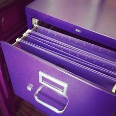my purple file cabinet. next to my purple desk.