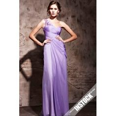 Lilac One Strap Pleated Full Length Prom Dress In Stock