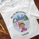 Personalized My First Christmas Character Baby T-Shirt. Our exclusive baby cartoon figure is dressed as Santa's little helping elf with little one's name appearing underneath; choose light or dark complexions and specific hair color.. Price: $12.95