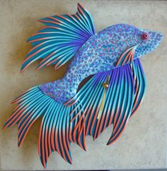 Large Beta Fish Clock or Wall Art Sculpture in Purple, Blue and Orange Polymer Clay by MysticDreamerArt on Etsy https://www.etsy.com/listing/229098287/large-beta-fish-clock-or-wall-art