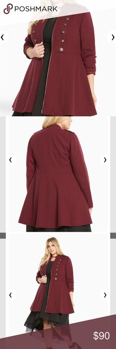 NWT Torrid Maroon Military Midi Coat NWT Military style maroon midi coat by torrid. Size 2. Retails for 108.90. Reasonable offers accepted. torrid Jackets & Coats