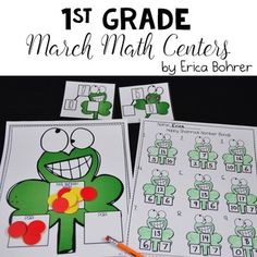 First+Grade+March+St.+Patrick's+Day+Math+CentersThis+St.+Patrick's+Day+themed+math+packet+is+perfect+for+helping+your+first+grade+students+master+number+bonds,+facts+through+ten,+facts+through+20,++addition+and+subtraction,+make+a+ten+to+add,+take+from+ten+to+subtract,+counting+tens+and+ones,+and+measurement+during+March.