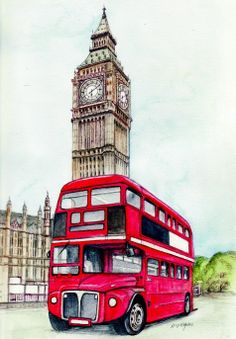 Craft Fabric london bus and big ben print by MorgansFaeWorld, £5.99