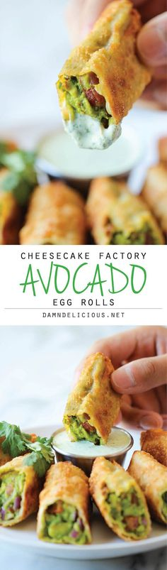 Cheesecake Factory Avocado Egg Rolls- I have never tried them but everything about this sounds yummy! Cheesecake factory copycat recipe for avacado egg rolls. Think Food, I Love Food, Good Food, Yummy Food, Tasty, Yummy Veggie, Vegetarian Recipes, Cooking Recipes, Healthy Recipes