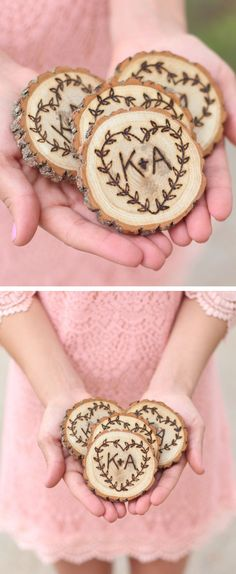 Brennan and Tamara? Rustic Sweetheart Coaster Set