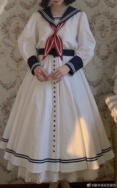 The Sailor's Whisper Sailor Lolita OP Dress Sailor Fashion, Lolita Fashion, Gothic Fashion, Vintage Fashion, Aesthetic Fashion, Aesthetic Clothes, Sailor Outfits, How To Make Clothes, Harajuku Fashion