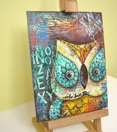 mixed media owl painting by busygirlart on Etsy, $12.00