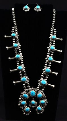 Sleeping Beauty Turquoise Squash Blossom Necklace and Earring Set by Thomas Francisco (#02)
