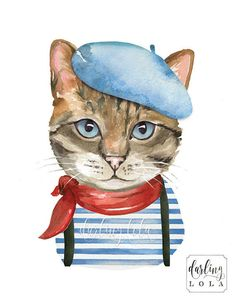 Adorable French Kitty Art print. This is a print of my original watercolor illustration.   Print Details:  Available in 8x10 or 11x14 inches.