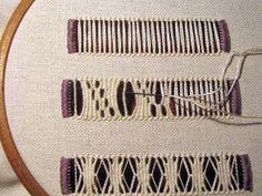 Hardanger Embroidery Nitka Czarodziejka: A robiło się to tak. - Step-by-step instructions in Polish with clear photos. Hardanger Embroidery, Embroidery Stitches, Embroidery Patterns, Hand Embroidery, Polish Embroidery, Types Of Embroidery, Cross Patterns, Weaving Patterns, Bookmark Craft