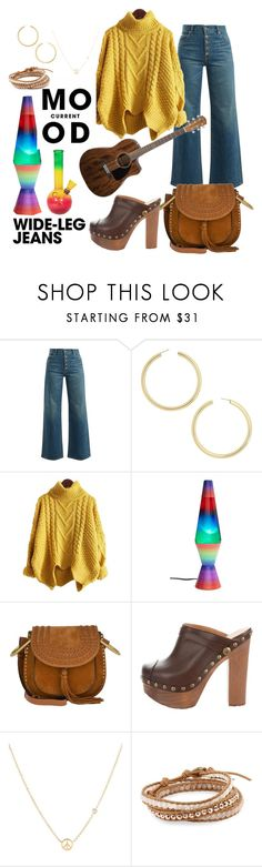 """""""While my guitar gently weeps"""" by dubldare ❤ liked on Polyvore featuring Eve Denim, BaubleBar, Schylling, Chloé, Chanel, Current Mood, Sydney Evan, Chan Luu, denimtrend and widelegjeans"""