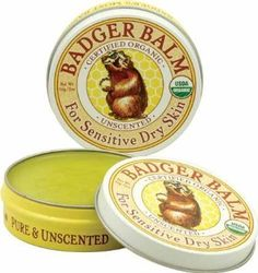 Badger Organic Balm, Unscented - 2 oz. Easy tin to stuff in your handbag or coat or whatever. Lightweight balm for minor chapping & dry skin on hands/arms, very moisturizing. Contains only extra virgin olive oil & beeswax—can easily DIY.