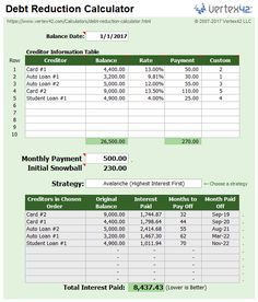 free debt snowball spreadsheet calculator to pay off debt faster my board pinterest calculator debt and budgeting