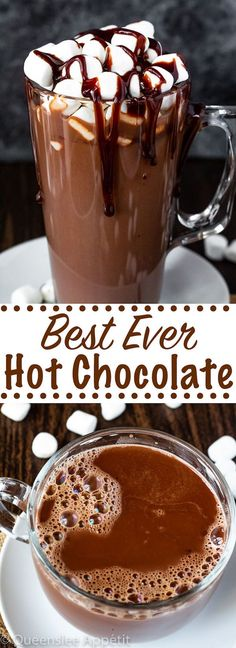 Best Hot Chocolate recipe Best Ever Hot Chocolate! This super chocolatey hot chocolate is thick, rich and creamy. It's perfect drink to sip on during those cold winter nights! Best Hot Chocolate Recipes, Frozen Hot Chocolate, Cocoa Recipes, Homemade Hot Chocolate, Hot Chocolate Bars, Dessert Recipes, Desserts, Chocolate Diy, Chocolate Party