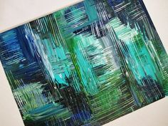 SALE - OOAK Abstract Acrylic Modern Painting Blue Aqua Black FREE Shipping Christmas Gift Him 14 x 18. Aquatic Commotion in Color Beautiful