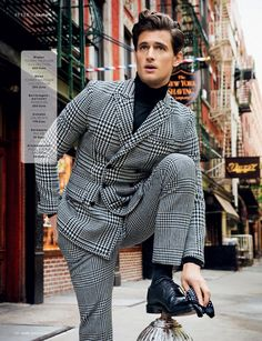 garrett neff in classic houndstooth, thanks to tommy hilfiger collection, church's, polo ralph lauren. #menswear