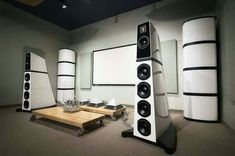 Verity Audio Monsalvat speaker system with it's 2 bass columns driven by a full … – Marc Friedrich – Audioroom In Wall Speakers, Home Speakers, Home Theater Speakers, Audiophile Speakers, Hifi Audio, Audio Speakers, Expensive Houses, Most Expensive, Car Audio Installation