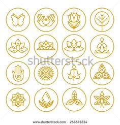 Vector yoga icons and round line badges - graphic design elements in outline style or logo templates for spa center or yoga studio