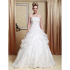 A-line Strapless Scalloped-Edged Neckline Organza Floor-length Wedding Dress  – GBP £ 84.51