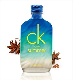Inspired by the tropical blue sea, Calvin Klein's summer scent leaves you relaxed, refreshed, and reenergized. On the surface is a crisp citrus twist of lime and lemon peel with iced watermelon, whilst jumpier berry, star anise, and ginger make for an energetic heart. At the base are musk, patchouli, and amberwood to create the sensation of bare, sun-kissed summer skin. Calvin Klein 'CK One Summer Eau de Toilette', AED 205/SAR 209 for 100ml Ck One Summer, Calvin Klein Ck One, Summer Scent, Star Anise, Fiji Water Bottle, Sun Kissed, Fragrances, Crisp, Berry