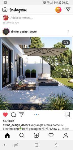 garten mauer Groe Terrasse Lounge Outdoor Garden D - Outdoor Decor, Garden Design, Terrace Design, Outdoor Living Design, Backyard Decor, Exterior Design, Garden Inspiration