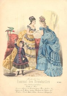 1870's bustle dress   Ballgowns and childrens dress, 1874 France, Journal des Demoiselles