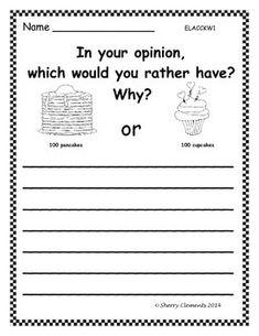 OPINION WRITING: 100TH DAY OF SCHOOL - Kindergarten, first grade, second grade opinion writing - writing center - literacy center $