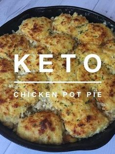 """""""Keto Chicken Pot Pie"""" around here. It was rainy and all I wanted for dinner was some kind of comfort food. I had attempted a Keto Chicken Pot Pie a couple of weeks ago, but the crust just didn't turn out like I hadcontinue reading. Ketogenic Recipes, Low Carb Recipes, Cooking Recipes, Healthy Recipes, Slow Cooking, Cheap Recipes, Cooking Bacon, Grill Recipes, Low Carb Soups"""