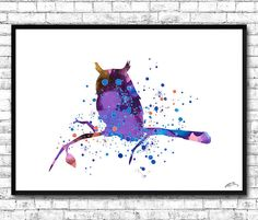 Purple Owl Watercolor Print Animal Wall Decor Wall by ArtsPrint
