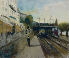 Bahnübergang in Territet von Varlin Art Database, Bahn, Urban Landscape, Fine Art, Artist, Artwork, Pictures, Painting, Trains