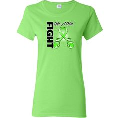 Lymphoma Fight Like a Girl Women's T-Shirt featuring boxing gloves shaped into an awareness ribbon #fightlikeagirl #fightlikeagirlshirts #lymphomaawareness