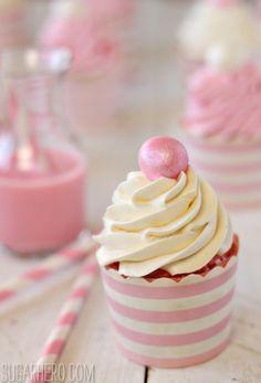 ITALIAN MERINGUE BUTTERCREAM - Strawberry Cupcakes With Vanilla and Strawberry Buttercream - SugarHero!