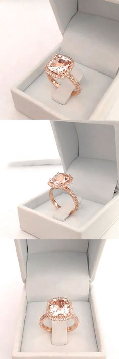 Beautiful cushion cut natural pink peach morganite halo engagement ring. The center natural morganite has Not been heated/treated in any way and comes