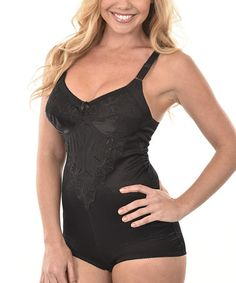 Another great find on #zulily! Black Embroidered Shaper Bodysuit - Plus Too #zulilyfinds