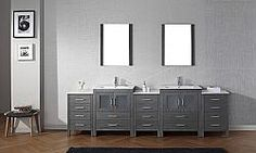 Mercury Row Cartagena Double Bathroom Vanity Set with White Marble Top and Mirror Base Finish: Zebra Gray, Faucet Finish: Polished Chrome Modern Vanity, Modern Bathroom, Marble Top, White Marble, Free Standing Vanity, Bathroom Vanity Cabinets, Bathroom Vanities, Vanity Set With Mirror, Venetian Mirrors