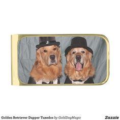 Golden Retriever Dapper Tuxedos Gold Finish Money Clip
