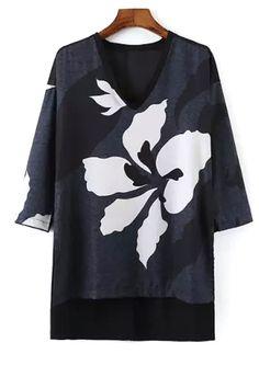 Floral Print V Neck 3/4 Sleeve T-Shirt