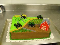 Tractor Cake Chocolate sheet cake with buttercream frosting and decoration, plastic tractors provided by the buyers. Cake Icing, Buttercream Cake, Fondant Cakes, Cupcake Cakes, Pretty Cakes, Cute Cakes, Little Boy Cakes, 3rd Birthday Cakes, Birthday Parties