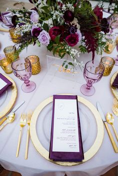 Lavender & Gold Placesetting // Lavender and Red Southern California Wedding Inspiration via Poppy Red Wedding, Purple And Gold Wedding, Gold Wedding Theme, Wedding Themes, Wedding Table, Wedding Flowers, Dream Wedding, Wedding Decorations, Wedding Ideas