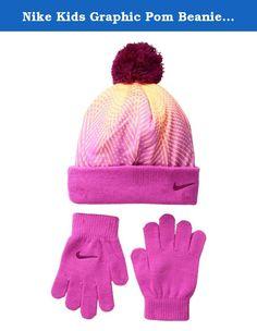 3920422c285 Nike Kids Graphic Pom Beanie Gloves Set Little Kids Peach Cream Beanies.  She ll