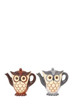 {Owl Teapot - Set of 2} by Foreside - cute little owl teapots!
