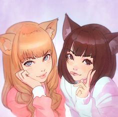 kuvshinov-ilya:  Catgirls https://www.patreon.com/posts/3887971 Cover art I've done for Jenya and Masaka Miho's song / radio drama CD (on sale at this winter's Comiket)