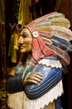 Hand Carved, cigar store Indian.