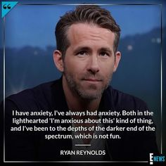 Ryan Reynolds may always seem calm, cool and collected, but he wants you to know that he struggles with anxiety, too. Read more about Ryan opening up about his anxiety at the link in. Mental Health Matters, Mental Health Quotes, Mental Health Issues, Mental Health Awareness, Living With Depression, Generalized Anxiety Disorder, Anxiety Quotes, Panic Disorder, Anxiety Treatment