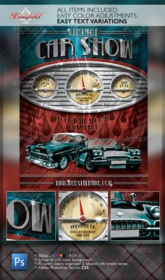 Vintage Car Show Dashboard Flyer Template