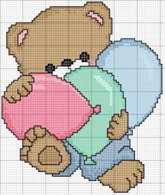ursinho com balões gráfico ponto cruz