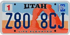 "The official Utah state license plate. ""'Life elevated' can be taken in a variety of ways. We're about attitude, not altitude,"" says the managing director of the Utah Tourism Office. Car License Plates, Licence Plates, U.s. States, United States, Custom Metal Signs, Family Chiropractic, Vanity Plate, Us Travel, Cars"
