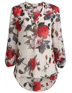 Apricot Floral Printed V-Neck for Women.
